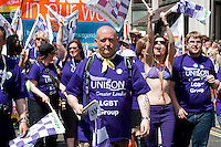 The annual Gay Pride parade makes its way through central London to a rally in Trafalgar Square.