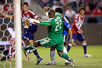 CD Chivas USA goalkeeper Zach Thornton (22) makes a save in the far corner if his goalmouth. CD Chivas USA defeated the San Jose Earthquakes 3-2 at Home Depot Center stadium in Carson, California on Saturday April 24, 2010.  .