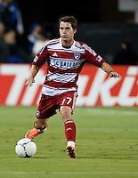 Santa Clara, California - Saturday July 18, 2012: FC Dallas' Zack Loyd dribbles down the field during a game against San Jose Earthquakes at Buck Shaw Stadium, Stanford, Ca   San Jose Earthquakes defeated FC Dallas 2 - 1.