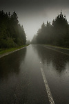 Rain on the road leading to Mount Seymour, Vancouver, British Columbia, Canada