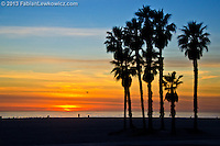 Santa Monica Beach amid the sunset on Monday, January 7, 2013.