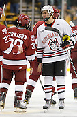Luke Eibler (Northeastern - 20) - The Northeastern University Huskies defeated the Harvard University Crimson 4-0 in their Beanpot opener on Monday, February 7, 2011, at TD Garden in Boston, Massachusetts.