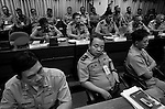 Top officers in the Philippine Army - division commanders, service heads, headquarter's staff members - attend a conference at Camp Aguinaldo (headquarters of the Armed Forces of the Philippines) for an annual summit and to brief the press on their successes in the past year on Jan. 6, 2007. Many observers claim that present and former commanders in the Philippine military and police turn a blind to or are actively involved in the procurement and distribution of weapons to political patrons and allies for financial gain and influence. Furthermore, it is the Philippine military that is often the main suspect in the extrajudicial killings of militants, activists, organizers, journalists and opposition political figures.