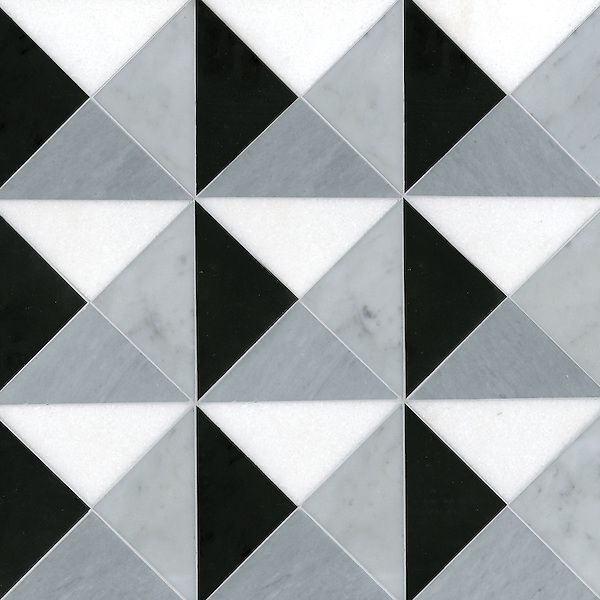 Christopher 2, a handmade mosaic shown in honed Nero Marquina, Thassos, Carrara, and Bardiglio, is part of the Illusions™ Collection by Sara Baldwin Designs for New Ravenna.