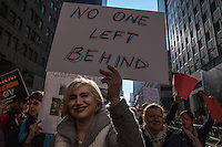 NEW YORK, NY - JANUARY 21: A woman holds a sign during  the Women's March in New York City on January 21, 2017. Protesters in the United States and around the world are joining marches Saturday to raise awareness of women's rights and other civil rights they fear could be under threat under Donald Trump's presidency. Photo by VIEWpress/Maite H. Mateo.