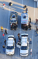 Jan. 21, 2012; Jupiter, FL, USA: Aerial view of the cars of NHRA funny car drivers John Force (left) and daughter Courtney Force during testing at the PRO Winter Warmup at Palm Beach International Raceway. Mandatory Credit: Mark J. Rebilas-