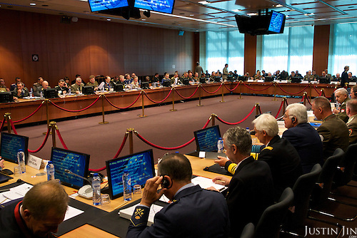 A meeting of military personnel at the EU council.