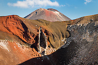 Hiking around Red Crater with views of Mount Ngaruhoe, Tongariro Alpine Crossing Track, Tongariro National Park, Central Plateau, North Island, UNESCO World Heritage Area, New Zealand, NZ