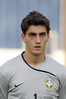 Brazil's Rafael (1) stands on the field before the match against Germany during the FIFA Under 20 World Cup Quarter-final match at the Cairo International Stadium in Cairo, Egypt, on October 10, 2009. Germany lost 2-1 in overtime play.