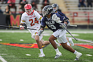 College Park, MD - February 25, 2017: Yale Bulldogs Tyler Warner (13) runs  with the ball during game between Yale and Maryland at  Capital One Field at Maryland Stadium in College Park, MD.  (Photo by Elliott Brown/Media Images International)
