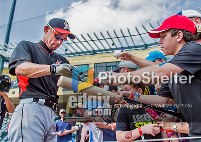 19 March 2015: Miami Marlins outfielder Ichiro Suzuki signs autographs for fans prior to a Spring Training game against the Atlanta Braves at Champion Stadium in the ESPN Wide World of Sports Complex in Kissimmee, Florida. The Braves defeated the Marlins 6-3 in Grapefruit League play. Mandatory Credit: Ed Wolfstein Photo *** RAW (NEF) Image File Available ***