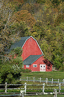 Red barn and farm, Kent, Connecticut, USA