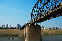 The Chicago, Rock Island and Gulf railway bridge, built in 1923, spans the West Fork of the Trinity River just east of downtown Fort Worth. The Trinity Railway Express, the commuter line between Dallas and Fort Worth, runs on this bridge. Photograph taken on 9/14/2013.