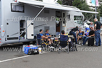 Competitors of the Metaltek kuota racing team take some time to relax before the race during the Abergavenny Festival of Cycling &quot;Grand Prix of Wales&quot; race on Sunday 17th 2016<br /> <br /> <br /> Jeff Thomas Photography -  www.jaypics.photoshelter.com - <br /> e-mail swansea1001@hotmail.co.uk -<br /> Mob: 07837 386244 -