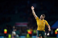 Drew Mitchell of Australia waves to the crowd after the match. Rugby World Cup Quarter Final between Australia and Scotland on October 18, 2015 at Twickenham Stadium in London, England. Photo by: Patrick Khachfe / Onside Images