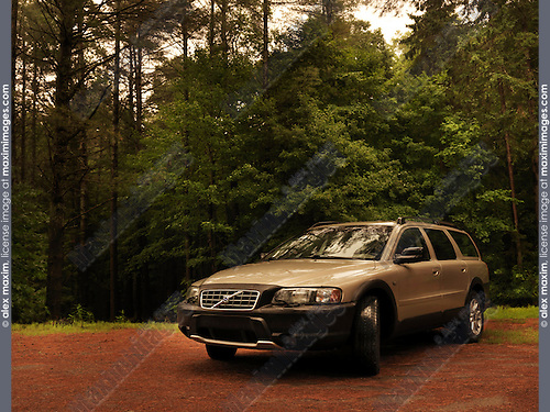 2004 Volvo XC70 car in the countryside nature scenic with forest trees in the background. Muskoka, Ontario, Canada.