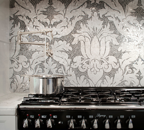 This custom Kingston Lacy backsplash  is shown in polished hand-cut Calacatta Tia and Bardiglio and was designed by Rogers &amp; Goffigon for New Ravenna Mosaics.<br /> -photo courtesy of  Model Design.<br /> For pricing samples and design help, click here: http://www.newravenna.com/showrooms/
