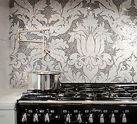 This custom Kingston Lacy backsplash  is shown in polished hand-cut Calacatta Tia and Bardiglio and was designed by Rogers &amp; Goffigon for New Ravenna Mosaics.<br />