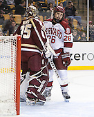 Parker Milner (BC - 35), Luke Greiner (Harvard - 26) - The Boston College Eagles defeated the Harvard University Crimson 4-1 in the opening round of the 2013 Beanpot tournament on Monday, February 4, 2013, at TD Garden in Boston, Massachusetts.