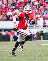 The Georgia Bulldogs beat the App State Mountaineers 45-6 in their homecoming game.  After a close first half, UGA scored 31 unanswered points in the second half.  Georgia Bulldogs quarterback Aaron Murray (11)