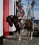 Editorial use only. ....Killian, a Dublin youth, shows off his pony at the horse market at Smithfield, Dublin takes place on the first Sunday of every month. People come from all over Ireland to trade horses and equipment. It's absolute chaos, with young kids galloping across the cobbles on distressed looking ponies, horses whinnying, gardai chasing jaunting cars on their bicycles. A big part of the horse scene involves the keeping of animals, by Dublin urban youth, in gardens or public areas. The Dublin Society for Prevention of Cruelty to Animals says that the market facilitates the sale of horses to under-16s, who are then unable - or unwilling to look after them. Amongst the dozens of horses visible, I did see a couple of examples of cruelty - the most obvious one of all was by an elderly man, kicking his pony in the stomach for no apparent reason. ....There's talks by Dublin City Council of moving the market out of the city - as Smithfield becomes increasingly gentrified, the more urbane of the urban dwellers in the surrounding apartments are apparently unimpresssed with the smell of horse shit once a month!....Editorial Use only
