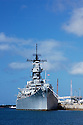 U.S.S. Missouri, the historic WWII battleship now anchored at Pearl Harbor; Honolulu, Oahu, Hawaii.