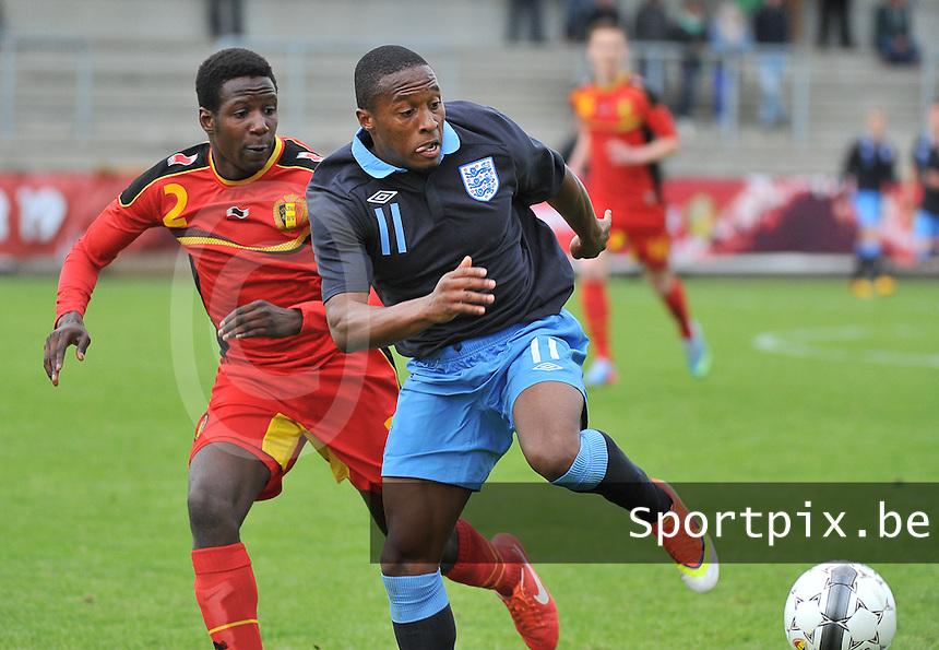 Belgium U19 - England U19 : Callum Harriott (11) and David Iboma (2).foto DAVID CATRY / Nikonpro.be