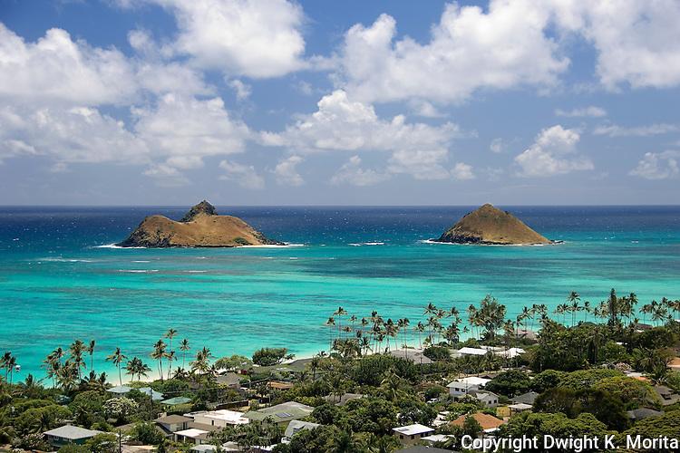 View of Mokulua Islands from ridge overlooking Lanikai