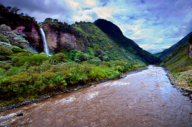 Manto de La Novia waterfall cascades down into the Rio Pastaza in the upper Amazon Basin outside of Banos, Ecuador.