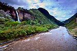 Manto de La Novia waterfall cascades down into the Rio Pastaza in the upper Amazon Basin outside of Banos, Ecuador.