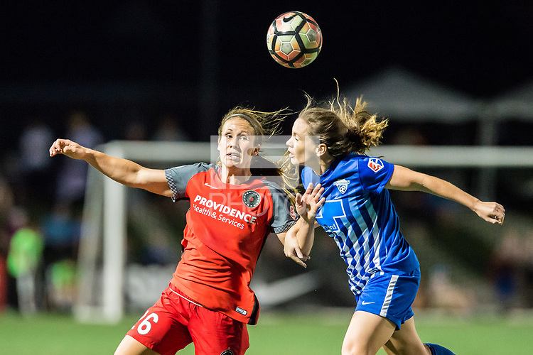 Boston, MA - Friday May 19, 2017: Mallory Weber and Allysha Chapman during a regular season National Women's Soccer League (NWSL) match between the Boston Breakers and the Portland Thorns FC at Jordan Field.