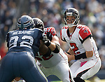 Atlanta Falcons quarterback  Matt Ryan pulls back from center at CenturyLink Field in Seattle, Washington on October 2, 2011. The Falcons beat the Seahawks 30-28 . ©2011 Jim Bryant Photo. All Rights Reserved.
