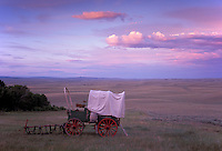 Covered Wagon, Sagebrush Prairie, Oregon Trail near South Pass, Wyoming, USA
