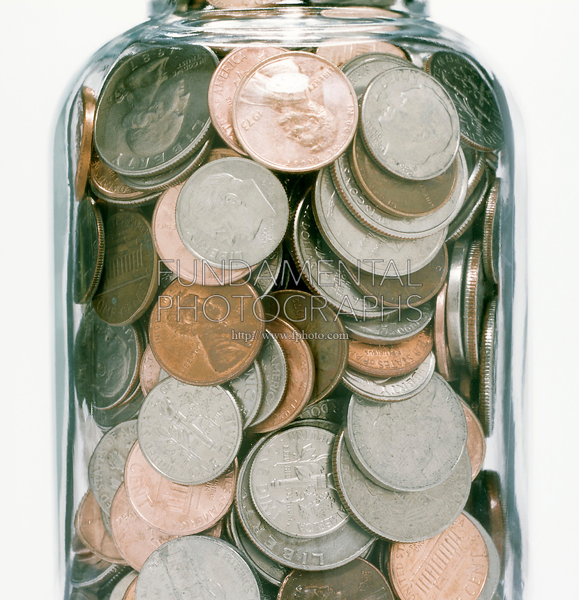 U.S.COINS IN A JAR<br /> Pennies, Nickels, Dimes &amp; Quarters<br /> Random arrangement; closely packed.