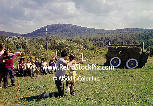 Archery instructor with girl at the Victor Van's Hideaway Ranch in East Jewett, NY