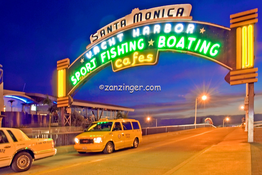 Santa Monica CA Pacific Pier entrance sign,  Beautiful Sunset,