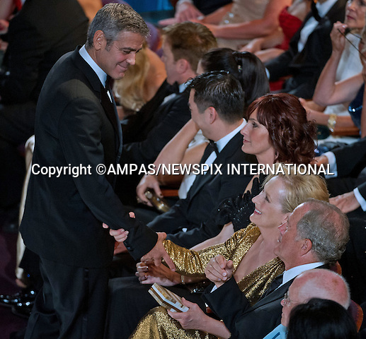 .GEORGE CLOONEY and MERYL STREEP..George Clooney greets Meryl Streep at the 84th Academy Awards held at Kodak Theatre, Hollywood & Highland Center®, Los Angeles, February 26, 2012,.MANDATORY PHOTO CREDIT: ©Ampas/NEWSPIX INTERNATIONAL..(Failure to by-line the photograph will result in an additional 100% reproduction fee surcharge. You must agree not to alter the images or change their original content)..            *** ALL FEES PAYABLE TO: NEWSPIX INTERNATIONAL ***..IMMEDIATE CONFIRMATION OF USAGE REQUIRED:Tel:+441279 324672..Newspix International, 31 Chinnery Hill, Bishop's Stortford, ENGLAND CM23 3PS.Tel: +441279 324672.Fax: +441279 656877.Mobile: +447775681153.e-mail: info@newspixinternational.co.uk