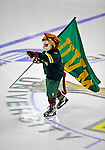 16 February 2008: University of Vermont Catamounts' mascot Rally Cat waves the UVM flag at a game against the Merrimack College Warriors at Gutterson Fieldhouse in Burlington, Vermont. The Catamounts defeated the Warriors 2-1 for their second win of the 2-game weekend series...Mandatory Photo Credit: Ed Wolfstein Photo
