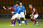 Hearts v St Johnstone...14.02.12.. Scottish Cup 5th Round Replay.Stephen Elliott and Fran Sandaza.Picture by Graeme Hart..Copyright Perthshire Picture Agency.Tel: 01738 623350  Mobile: 07990 594431