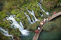 Velike cascade from above, Lower lakes, Plitvice National park, Croatia