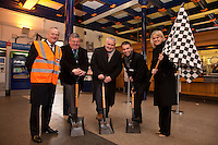 Ready, steady, go! Lincoln Station is refubishing their ticket office and pictured at the start of works are, from left: Robert Kirkland, Director of Construction for Bowmer and Kirkland, Chris Briggs, County Councillor Stuart Kinch, Neil Micklethwaite, Customer Service & Commercial Director for East Midlands Trains and Lisa Argus, Customer Relations Manager for Network Rail