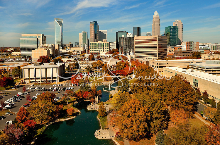 An autumn scene in Charlotte, North Carolina, as shown from overhead looking down into Marshall Park and across to the Charlotte skyline. The new Duke Energy tower is included in image (far left)