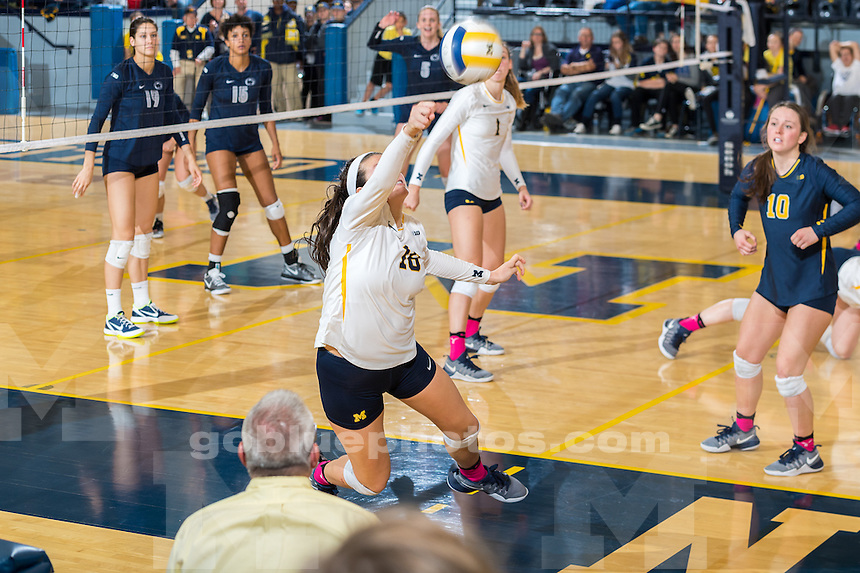 The University of Michigan volleyball team defeats Penn State, 3 - 2, at Cliff Keen Arena in Ann Arbor, MI on October 22, 2016.