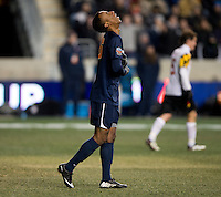 M. Salandy-Defour (16) of Virginia reacts to a missed shot during the NCAA Men's College Cup semifinals at PPL Park in Chester, PA.  Maryland defeated Virginia, 2-1.