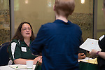 Angela Woodward, a writer and editor for University Communications and Marketing speaks about the services she can offer at the Campus Communicator Network Expo in Nelson Commons on Wednesday, May 11, 2016. © Ohio University / Photo by Kaitlin Owens