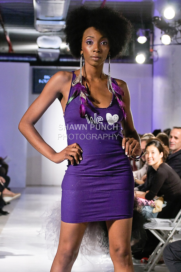 Model walks the runway in an outfit designed by Maxwell Williams High School student, for their 2011 collection fashion show, during BK Fashion Weekend Spring Summer 2012.