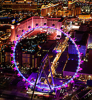 aerial photograph night timeHigh Roller Ferris Wheel, Las Vegas, Clark County, Nevada