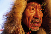 Portrait of a senior Native Alaskan man in a fur hood. Alaska.