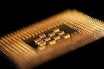 Macro image of a Pentium 4 processor from Intel.