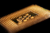 Macro image of a Pentium 4 processor from Intel.